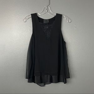 Heather Black Silk and Lace Blouse Size 0